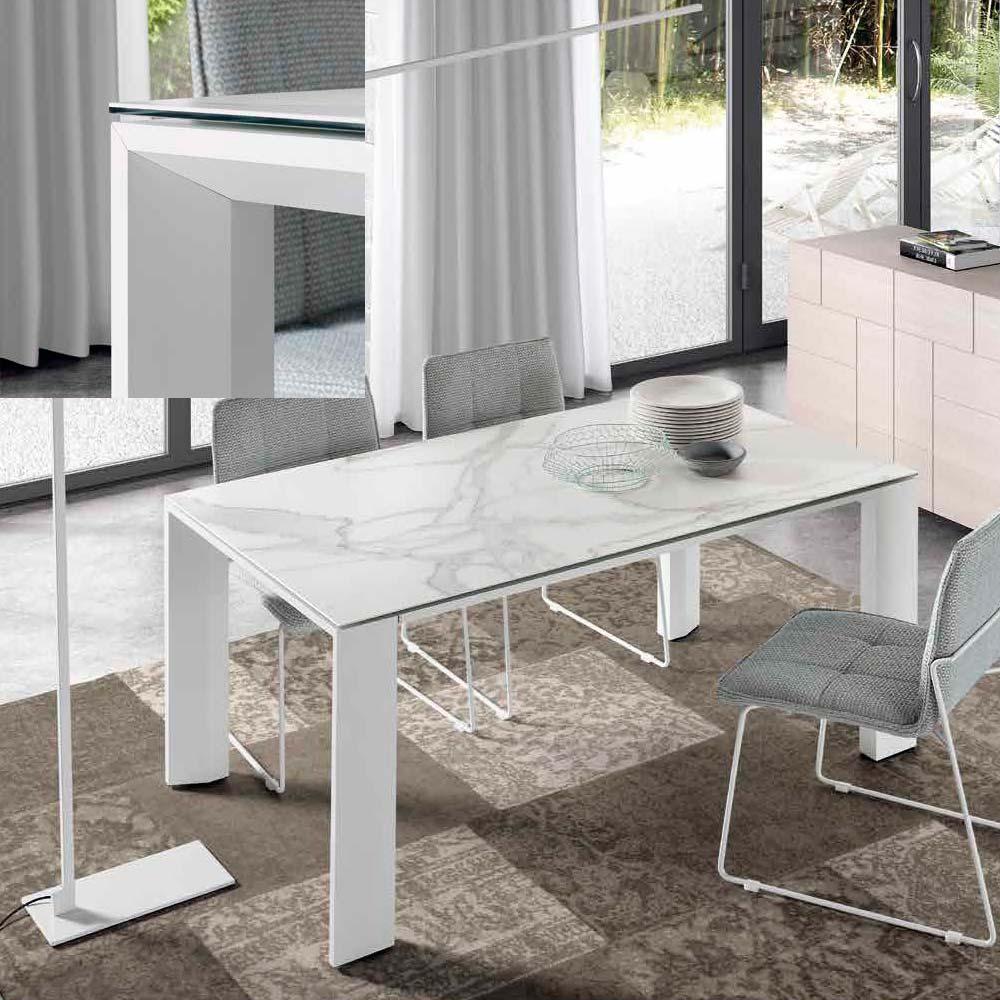 Mesa patas aluminio pintadas blancas Sobre cristal blanco óptico