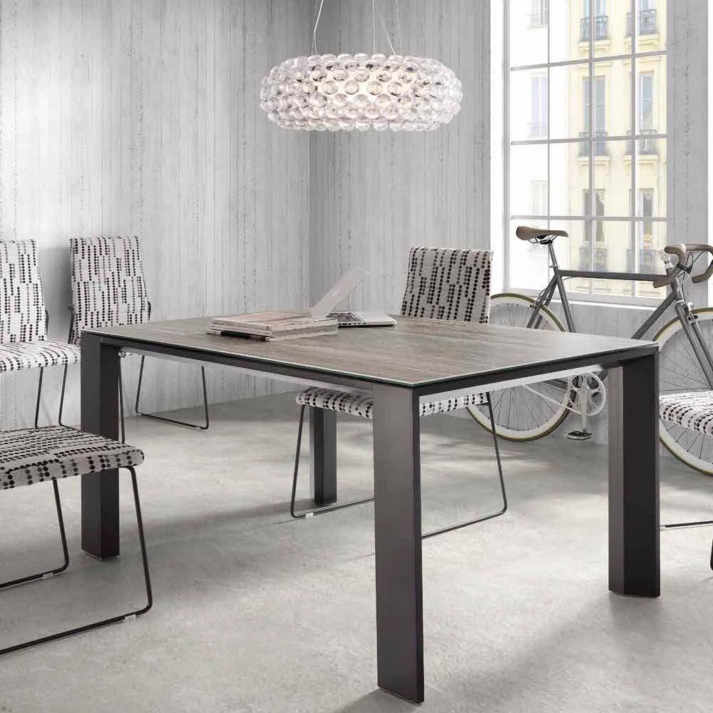 Mesa patas aluminio pintadas antracita Sobre cristal antracita