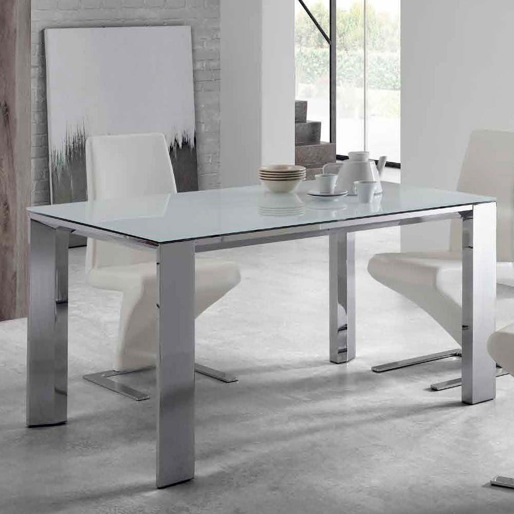 Mesa patas aluminio cromado Sobre cristal blanco óptico