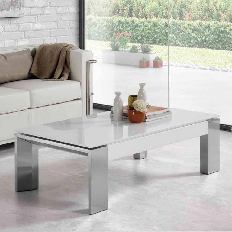 Mesa elevable patas alumino sobre cristal