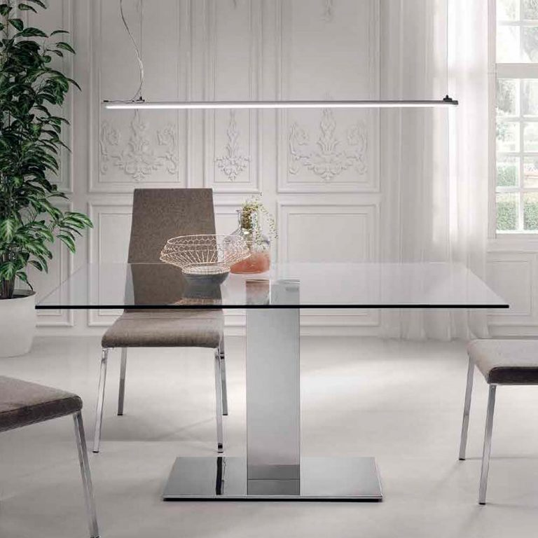 Mesa pata acero inoxidable brillo Sobre cristal transparente