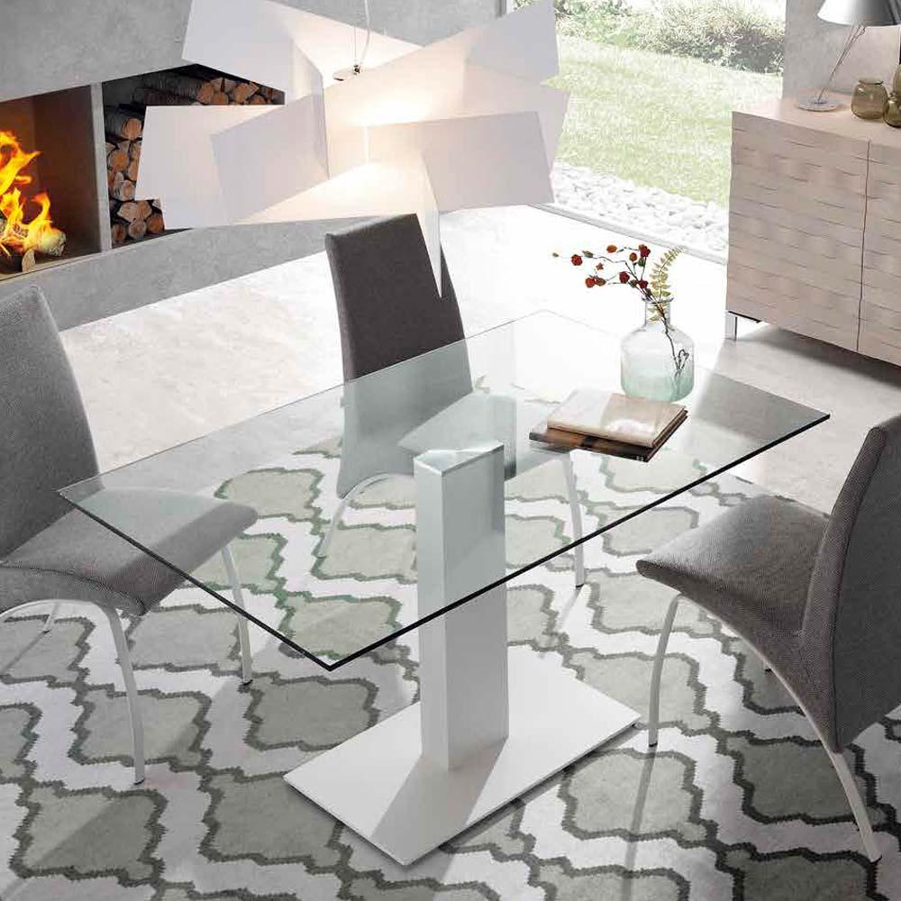 Mesa pata hierro pintada blanca Sobre cristal transparente
