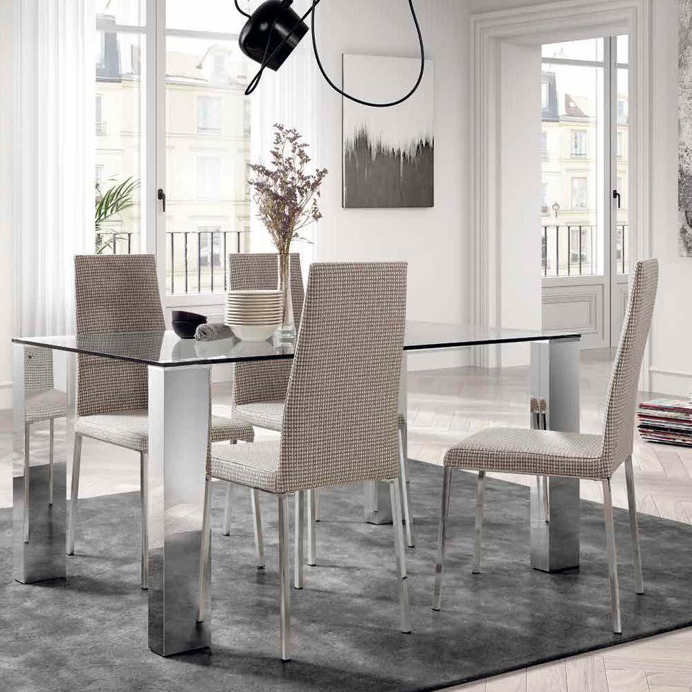 Mesa patas acero inoxidable brillo Sobre cristal transparente