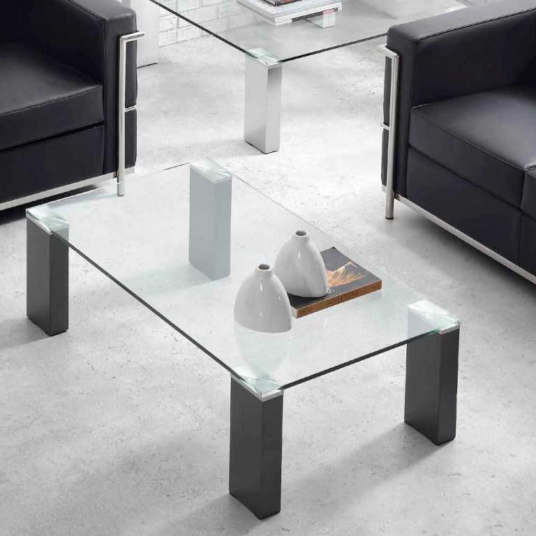mesa pata aluminio cuadradas sobre cristal