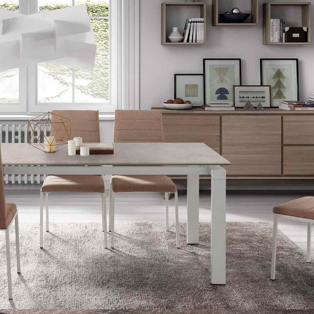 Mesa patas y estructura hierro pintadas blancas Sobre y extensible porcelánico A