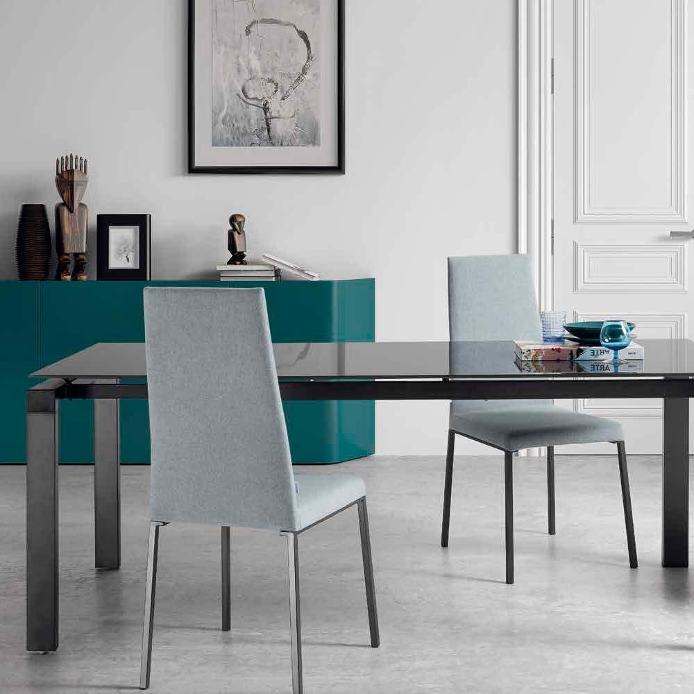 Mesa patas y estructura hierro pintadas antracita Sobre y extensible cristal transparente