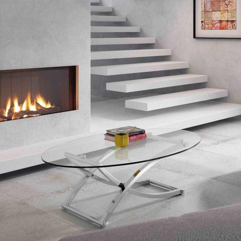 Moderna mesa de estructura metalica sobre cristal