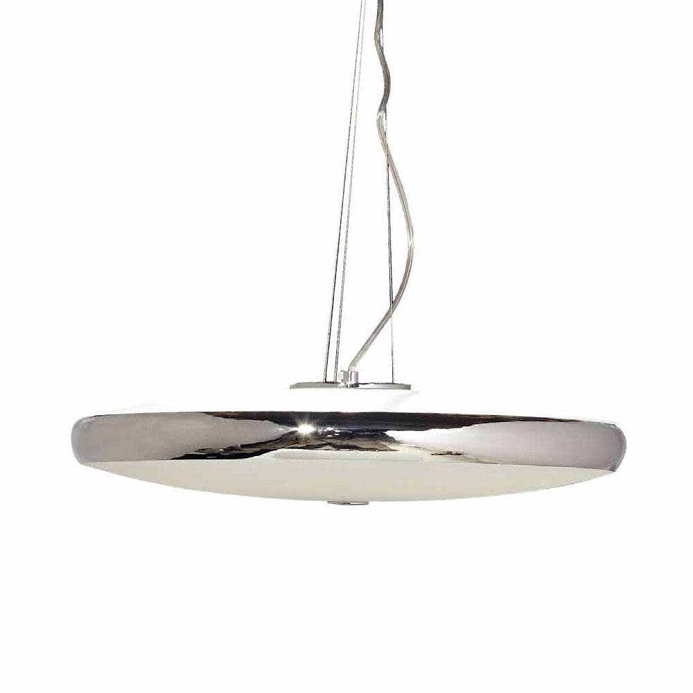 Lámpara techo Aro de metal brillo Cristal glaseado blanco 2G 1x60W