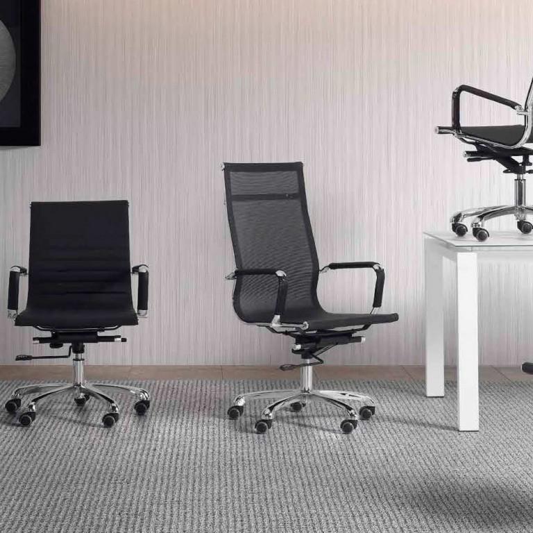Sillón de oficina estructura metálica cromada, modelo Estepona chair 18